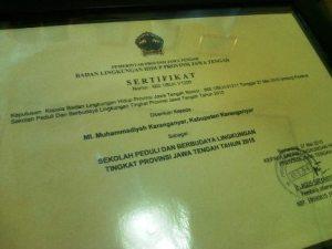 Piagam Adiwiyata_BLH Provinsi Jawa Tengah